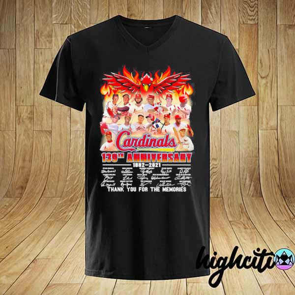 Cardinals 139th Anniversary 1882 - 2021 Signatures Thank You For The Memories Shirt