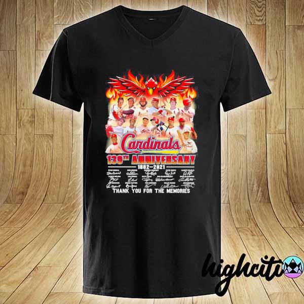 Cardinals 139th Anniversary 1882 - 2021 Signatures Thank You For The Memories Shirt V-neck