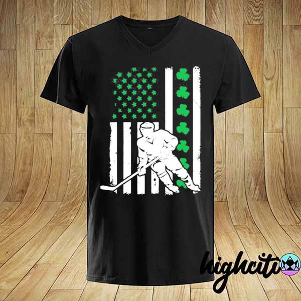 Irish American Flag Lucky Hockey St. Patrick's Day Shirt