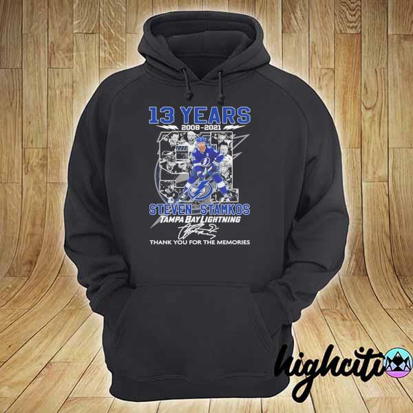 2021 13 years 2008 - 2021 steven stamkos tampa bay lightning signatures thank you for the memories hoodie