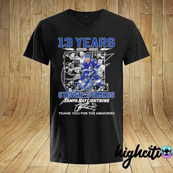 2021 13 years 2008 - 2021 steven stamkos tampa bay lightning signatures thank you for the memories shirt