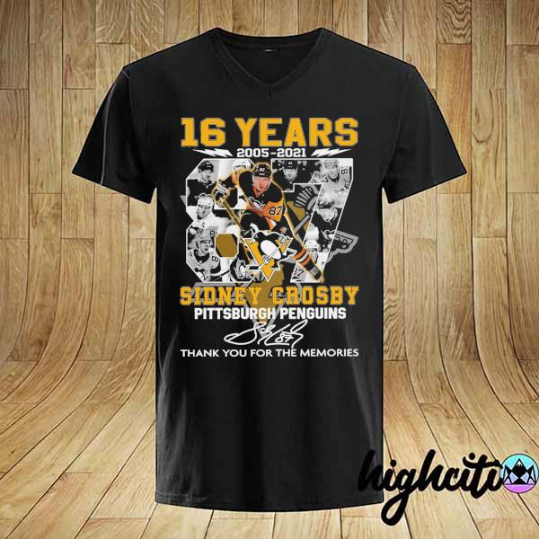 2021 16 years 2005 - 2021 sidney crosby pittsburgh penguins signature thank you for the memories shirt