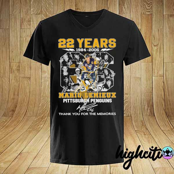 2021 22 years 1984 - 2006 mario lemieux pittsburgh penguins signature thank you for the memories shirt