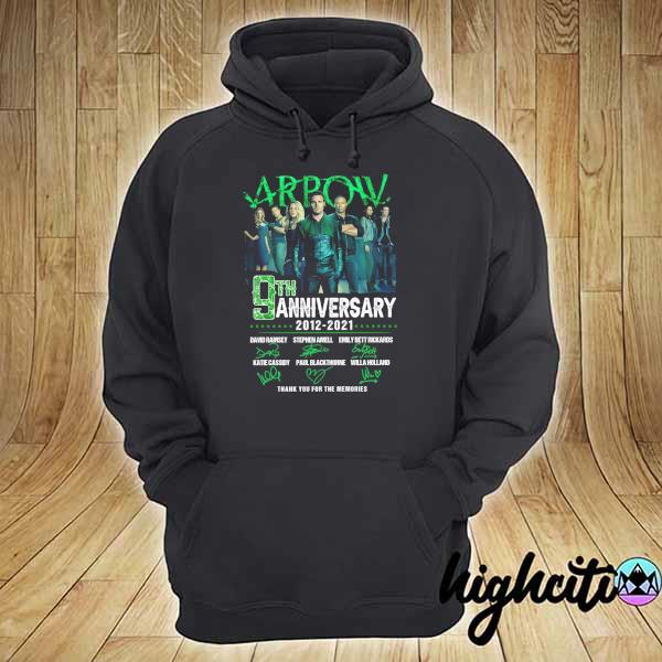 2021 arrow 9th anniversary 2021 - 2021 signatures david ramsey thank you for the memories hoodie