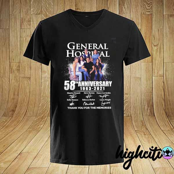 2021 general hospital 58th anniversary 1963 - 2021 signatures maurice benard thank you for the memories shirt
