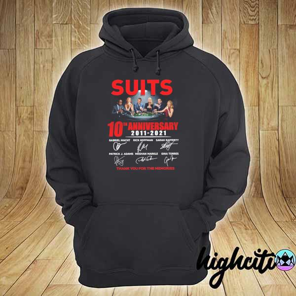 2021 suits 10th anniversary 2011 - 2021 signatures gabriel macht thank you for the memories hoodie