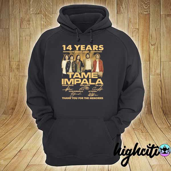 Awesome 14 years 2007 - 2021 tame impala dominic simper kevin parker cam avery thank you for the memories hoodie