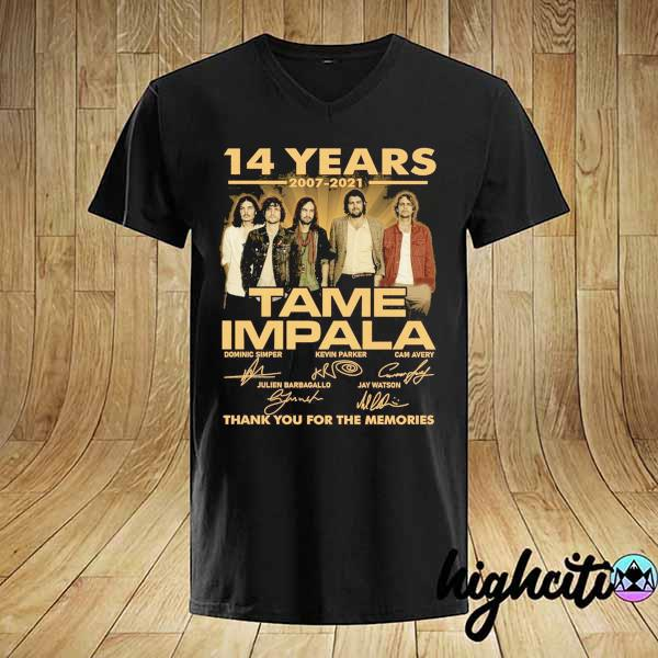 Awesome 14 years 2007 - 2021 tame impala dominic simper kevin parker cam avery thank you for the memories shirt