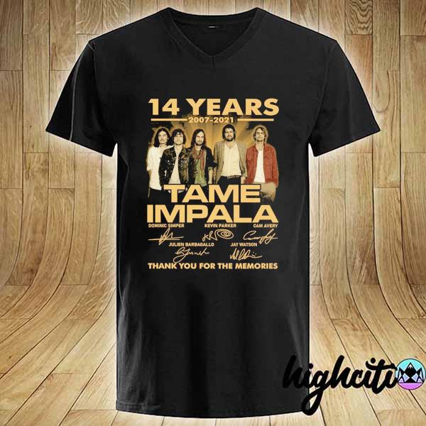 Awesome 14 years 2007 - 2021 tame impala dominic simper kevin parker cam avery thank you for the memories V-neck