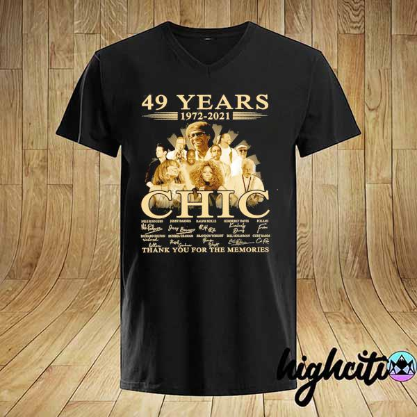 Awesome 49 years 1972 - 2021 chic nile rodgers signature thank you for the memories shirt