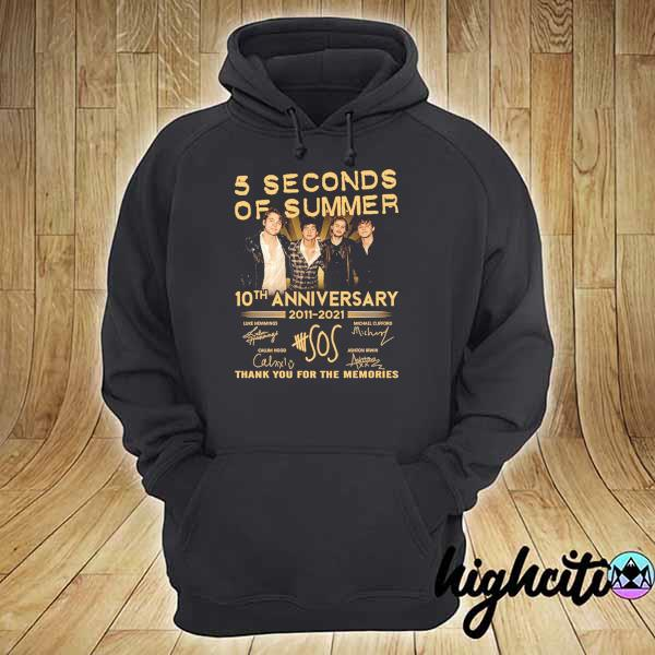 Awesome 5 seconds of summer 10th anniversary 2011 - 2021 signature thank you for the memories hoodie