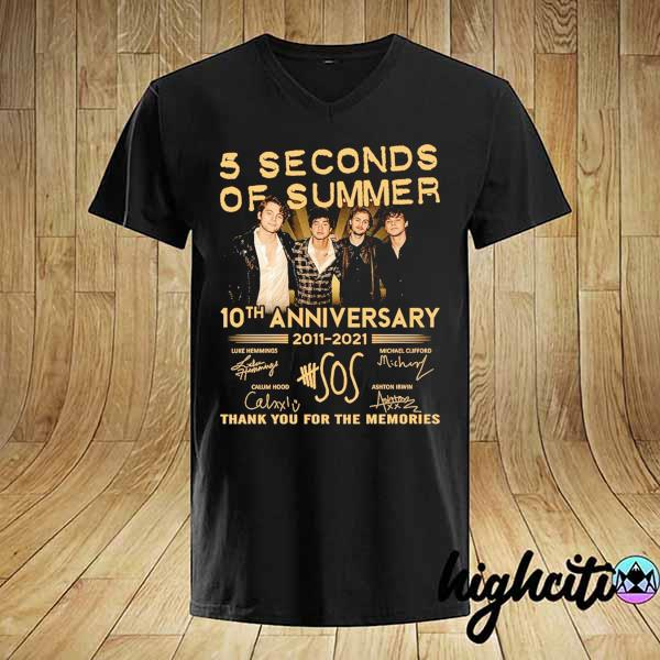 Awesome 5 seconds of summer 10th anniversary 2011 - 2021 signature thank you for the memories shirt