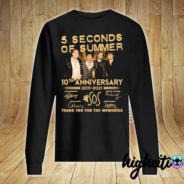 Awesome 5 seconds of summer 10th anniversary 2011 - 2021 signature thank you for the memories Sweater