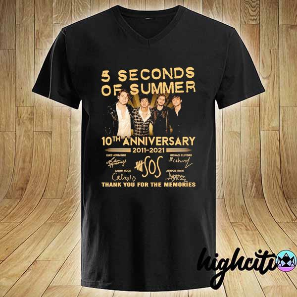 Awesome 5 seconds of summer 10th anniversary 2011 - 2021 signature thank you for the memories V-neck