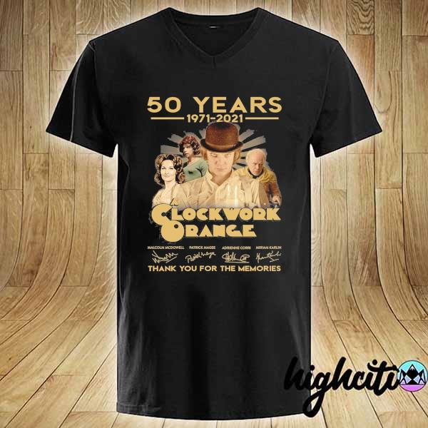 Awesome 50 years 1971 - 2021 clockwork orange malcolm mcdowell patrick magee signatures thank you for the memories V-neck
