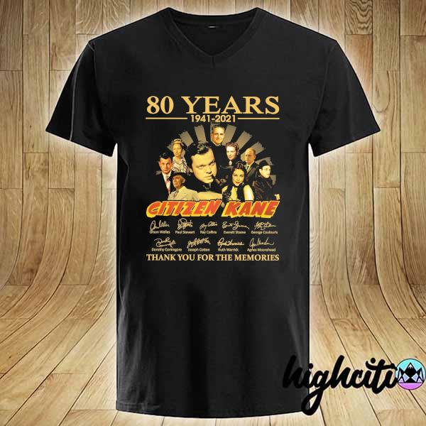Awesome 80 years 1941 - 2021 citizen kane orson welles paul stewart signatures thank you for the memories V-neck