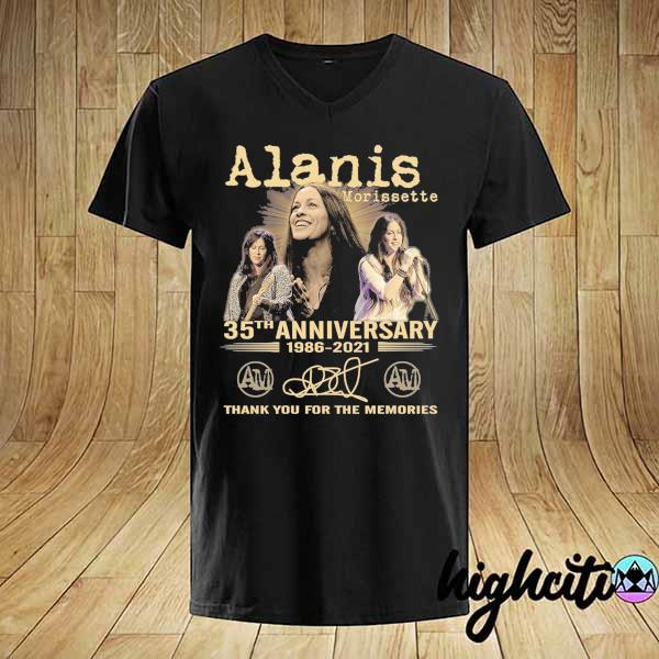 Awesome alanis morissette 35th anniversary 1986 - 2021 signature thank you for the memories shirt