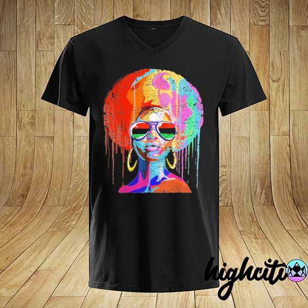 Awesome black queen afro melanin art shirt