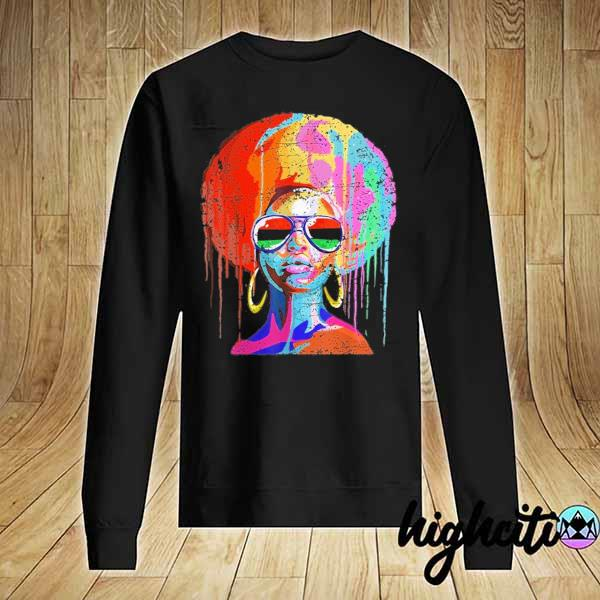 Awesome black queen afro melanin art Sweater