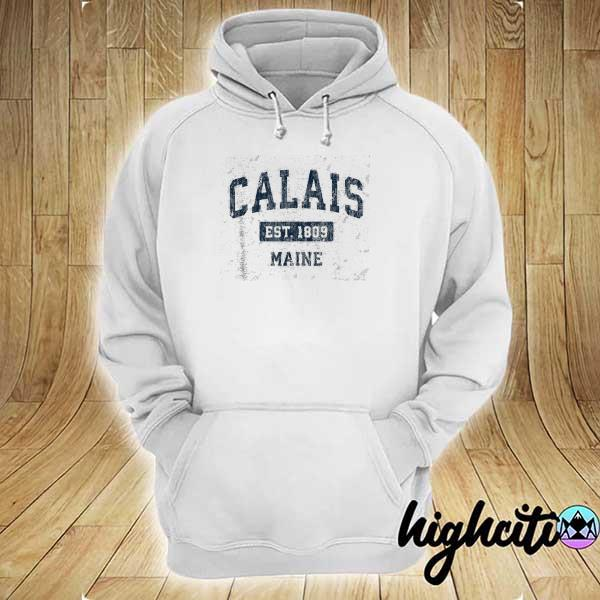 Awesome calais maine me vintage sports design navy hoodie