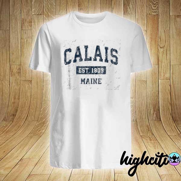 Awesome calais maine me vintage sports design navy shirt