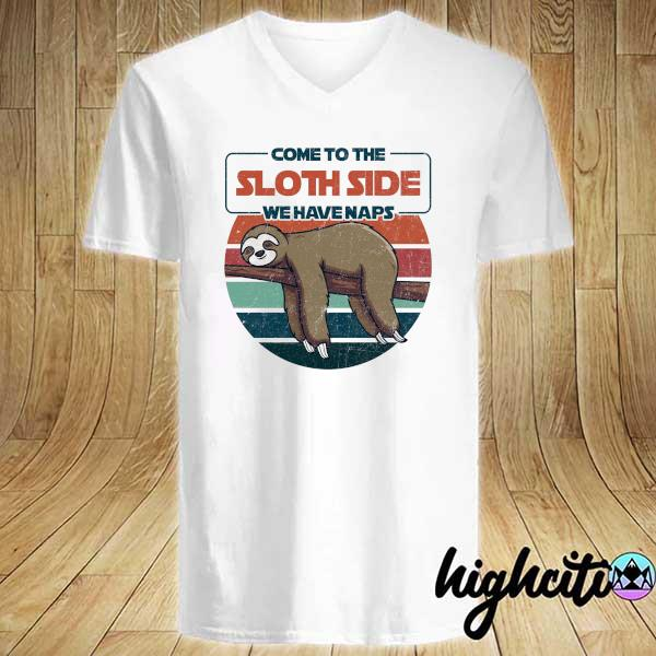 Awesome come to sloth side we have naps vintage retro V-neck