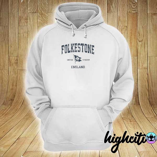 Awesome folkestone england vintage sports navy boat anchor flag hoodie