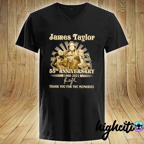 Awesome james taylor 50th anniversary 1966 - 2021 signatures thank you for the memories V-neck