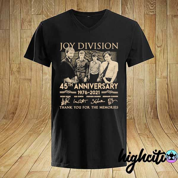 Awesome joy division 45th anniversary 1976 - 2021 peter hook ian curtis signatures thank you for the memories shirt