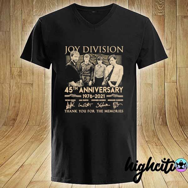 Awesome joy division 45th anniversary 1976 - 2021 peter hook ian curtis signatures thank you for the memories V-neck