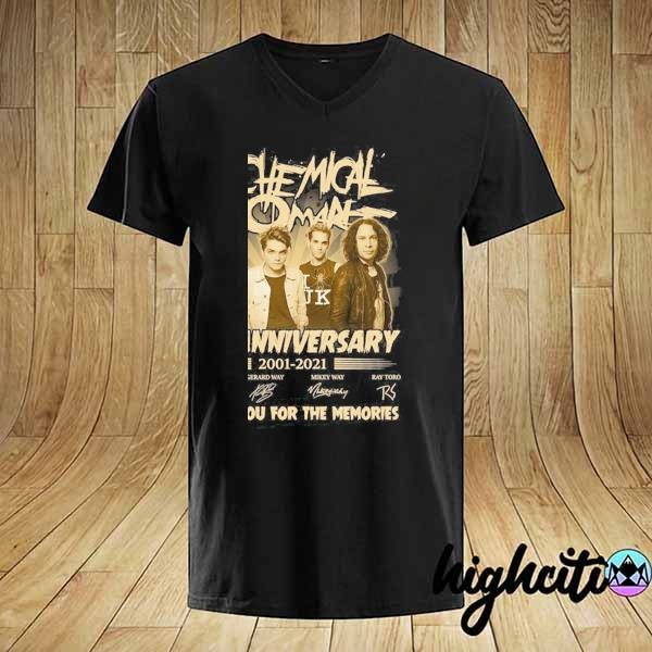 Awesome my chemical romance 20th anniversary 2001 - 2021 signatures thank you for the memories shirt