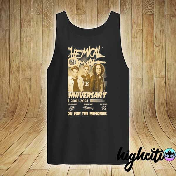 Awesome my chemical romance 20th anniversary 2001 - 2021 signatures thank you for the memories tank-top