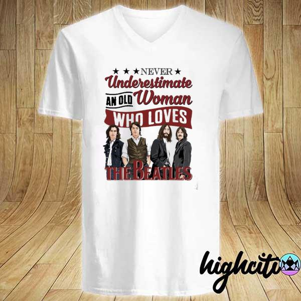 Awesome never underestimate an old woman who loves the beatles V-neck