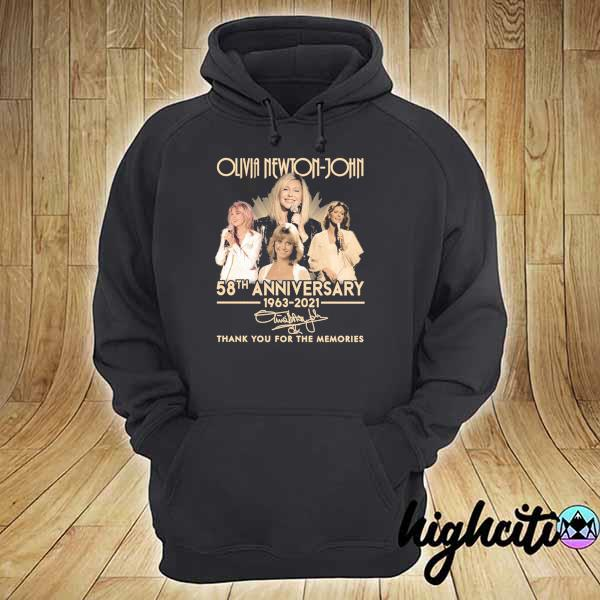 Awesome olivia newton-john 58th anniversary 1963 - 2021 signature thank you for the memories hoodie