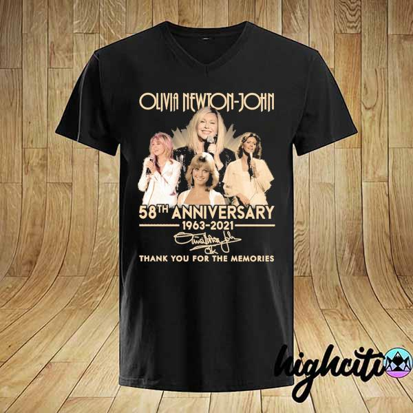 Awesome olivia newton-john 58th anniversary 1963 - 2021 signature thank you for the memories shirt