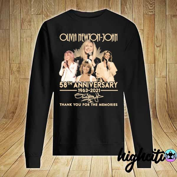 Awesome olivia newton-john 58th anniversary 1963 - 2021 signature thank you for the memories Sweater