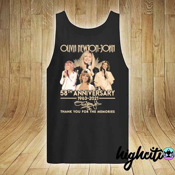 Awesome olivia newton-john 58th anniversary 1963 - 2021 signature thank you for the memories tank-top