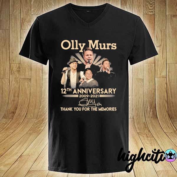 Awesome olly murs 12th anniversary 2009 - 2021 signature thank you for the memories V-neck