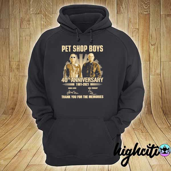 Awesome pet ship boys 40th anniversary 1981 - 2021 chris lowe neil tennant signatures thank you for the memories hoodie