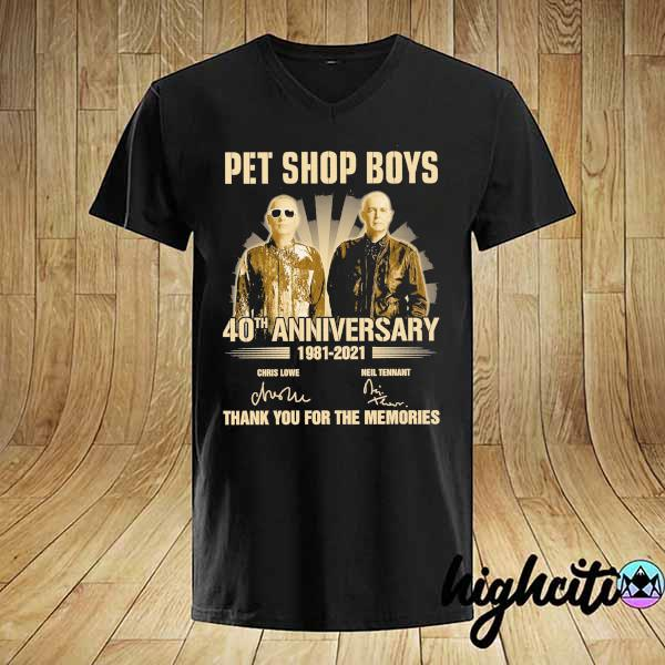Awesome pet ship boys 40th anniversary 1981 - 2021 chris lowe neil tennant signatures thank you for the memories shirt