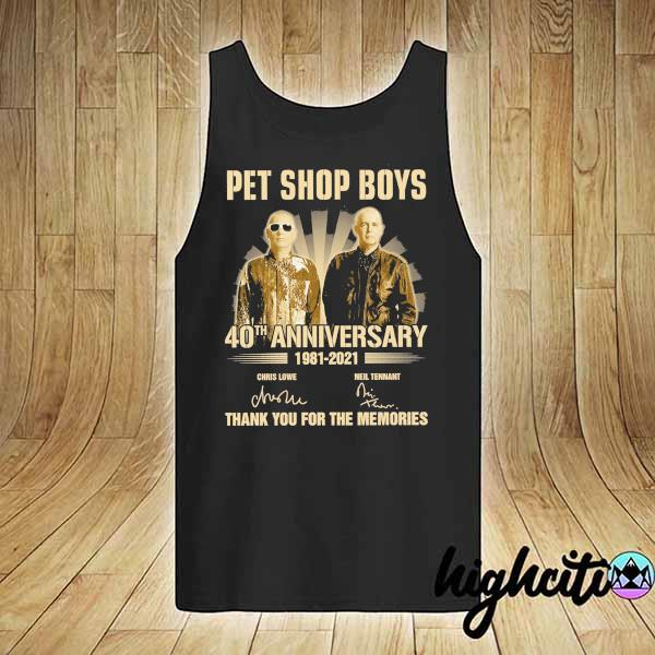 Awesome pet ship boys 40th anniversary 1981 - 2021 chris lowe neil tennant signatures thank you for the memories tank-top