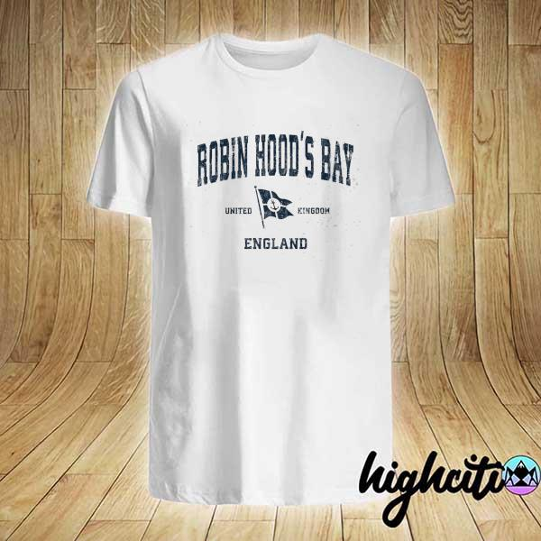 Awesome robin hood's bay england vintage sports navy boat anchor fla shirt