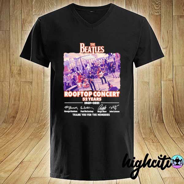 Awesome the beatles rooftop concert 52 years 1969 - 2021 signatures thank you for the memories V-neck
