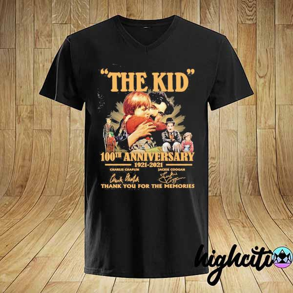 Awesome the kid 100th anniversary 1921 - 2021 charlie chaplin jackie coogan signatures thank you for the memories shirt