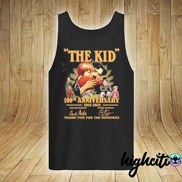 Awesome the kid 100th anniversary 1921 - 2021 charlie chaplin jackie coogan signatures thank you for the memories tank-top