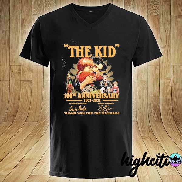 Awesome the kid 100th anniversary 1921 - 2021 charlie chaplin jackie coogan signatures thank you for the memories V-neck