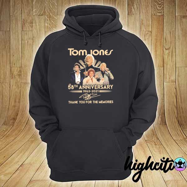 Awesome tom jones 58th anniversary 1963 - 2021 signatures thank you for the memories hoodie