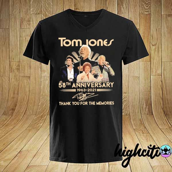 Awesome tom jones 58th anniversary 1963 - 2021 signatures thank you for the memories shirt