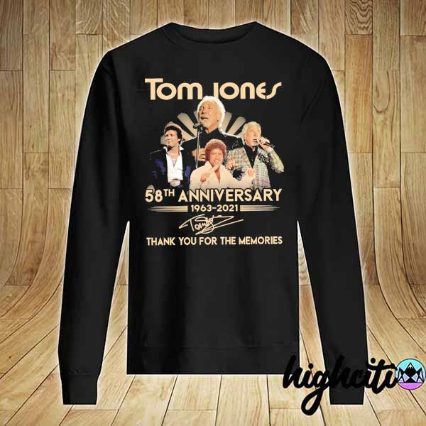 Awesome tom jones 58th anniversary 1963 - 2021 signatures thank you for the memories Sweater