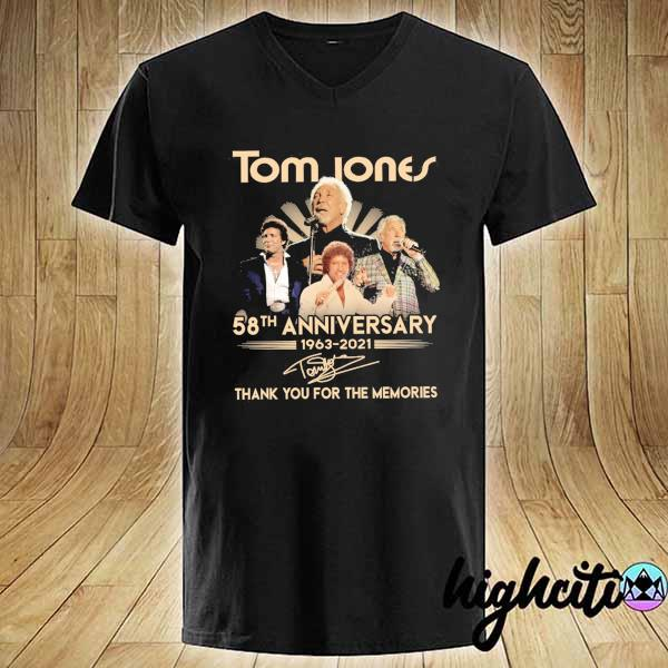 Awesome tom jones 58th anniversary 1963 - 2021 signatures thank you for the memories V-neck